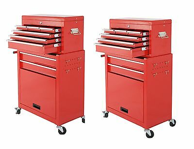Set of 2 Rolling Tool Cabinet with 6 Drawers & Removable Tool Box- Zeny Products