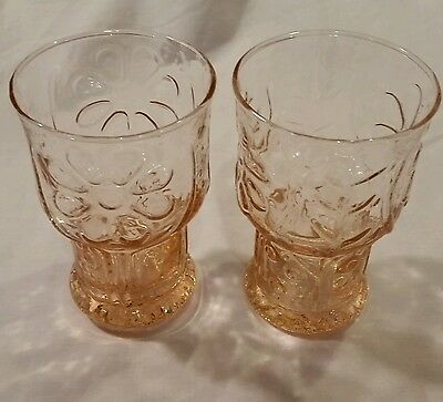 2 delicate pink Libbey Country Garden-Pink 6 oz. juice glasses