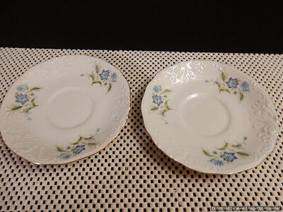 """Walbrzych Poland Set of 2 Saucers Blue Floral Flowers 5.5"""" Gold Edge"""
