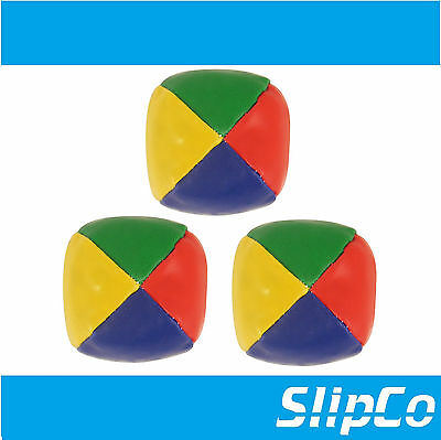 NEW 3x TRADITIONAL JUGGLING BALLS CIRCUS BEANBAG CLOWN LEARN TO JUGGLE COLOURED