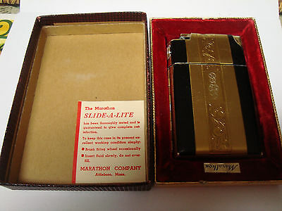 Marathon Slide-A-Lite Lighter/Cigarette Case in Original  box. WORKS!