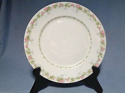 Wm. Guerin Limoges France Pink Floral Green Gray Vine Dinner Plate 9-3/4""