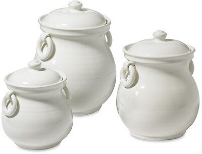WILLIAMS SONOMA Tuscan Ceramic CANISTER SET Antique White S/3 $150 VALUE NIB