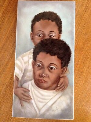 vintage hand-painted on ceramic tile Brothers