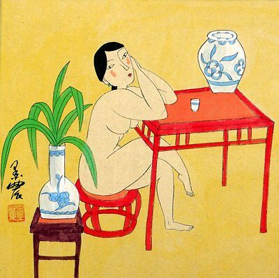 "Chinese painting girl 16x16"" lady beauty nude naked Oriental art"
