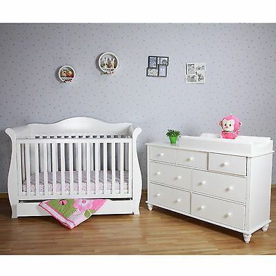 White New Zealand Pine 3-in-1 Baby Sleigh Cot Bed & 7 Drawers Change Table Set