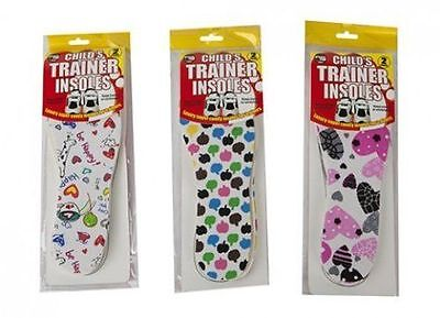 2 Pair Pack Kids Childs Childrens Trainer Shoe Insoles Cut To Size 26-36