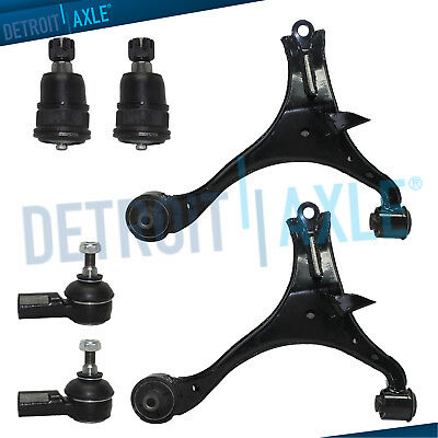 2 Front Lower Control Arm +2 Ball Joint and 2 Outer Tie Rod Set Pair 10-YR WRNTY