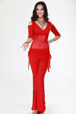 New Belly Dance Costume Yoga 2 pics Blouse Top & Hip Scarf Pants 5 colors
