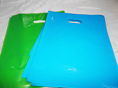 100 12x15 Glossy Lime Green and Teal Blue Low-Density Merchandise Bags WHandles