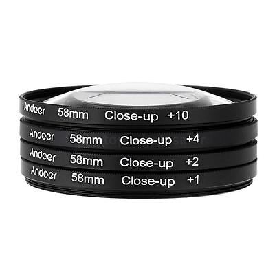 Andoer 4IN1 58mm Macro Close-Up Lens Filter Set (+1 +2 +4 +10) for Nikon Canon