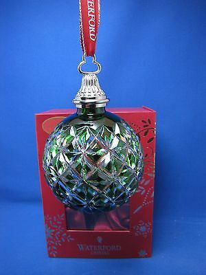 Waterford Emerald Green Cased Crystal New For 2014 Ball Ornament New In Box