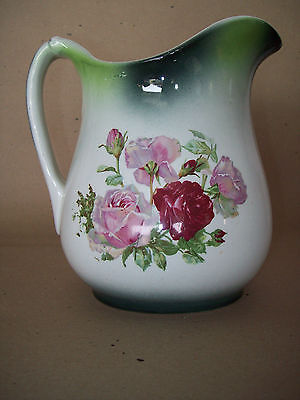 "VTG Antique Victorian Liverpool Pitcher 8"" Warranted 1800's Green Floral Roses"