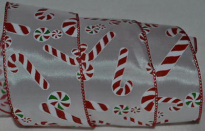 Wired Ribbon~Christmas Candy Cane~Holiday Peppermint~Red~White~Gift~Wreath~Bow