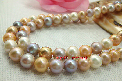 """long Rare AAAAA 35""""9-10mm real natural South sea multicolor pearl necklace 14K"""