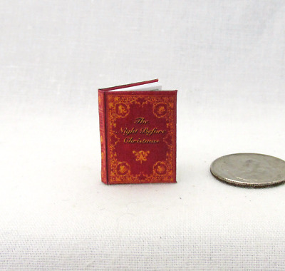 THE NIGHT BEFORE CHRISTMAS Miniature Book Dollhouse 1:12 Scale Readable Book