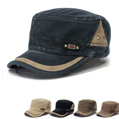 Men Women Cotton Flat Cap Classic Adjustable Plain Faded Army Military Cadet Hat