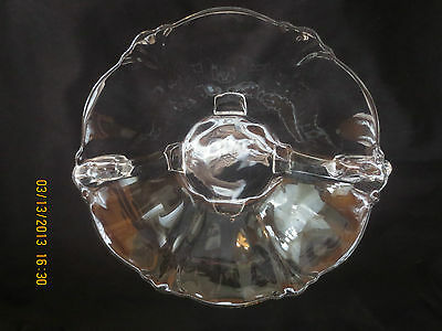 Signed Heisey Glass Clear 4 Footed & Handled Bowl / Dish