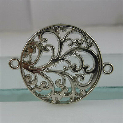 12104 15PCS Alloy Round Hollow Flower Connector Charm Jewelry Making