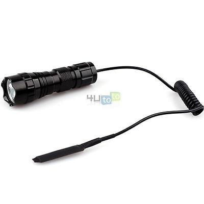 New Mini Tactical Cree T6 LED 800LM Flashlight Torch w/ Remote Switch For Rifle