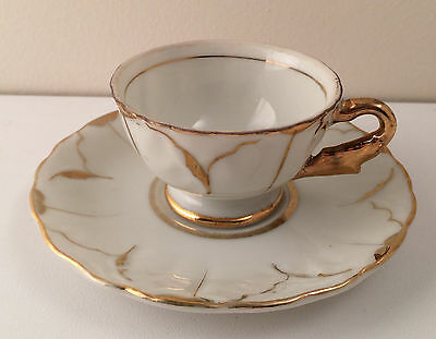White & Gold Demitasse Cup & Saucer - Made in Japan