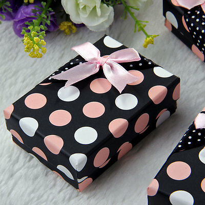 5PCS Jewelry Necklace Pendant Party Favor Gift Box Case Rectangle Pink Dot New