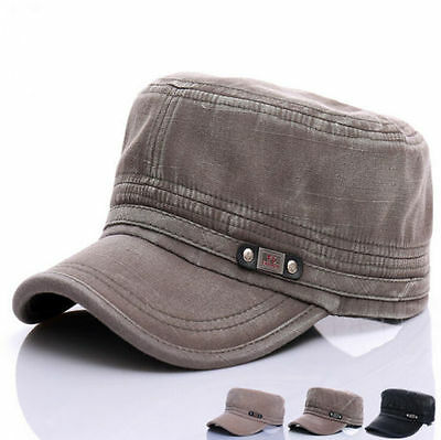 New Men Women Classic Adjustable Army Jeep Plain Hat Cadet Military Baseball Cap