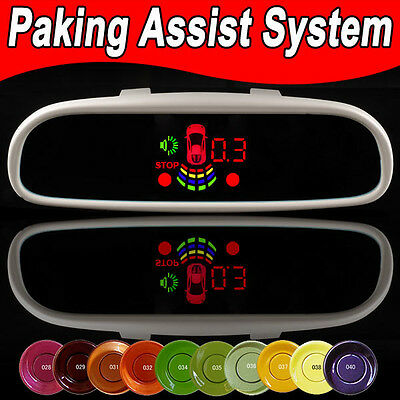 8 Parking sensors 4 back 4 front car reverse radar LED sound display System kits