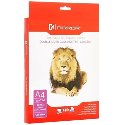 Mirror 230Gsm Double Sided Matte & Gloss Inkjet Photo Paper - A4 - 50 Sheets