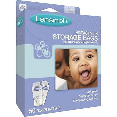 Lansinoh Pre-Sterilised Breastmilk Baby Breast Milk Storage Bags Pouches 50 Pack