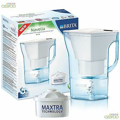 BRITA Navelia 2.3 Litre Cool White Water Filter Jug + 1 Maxtra Filter Cartridge