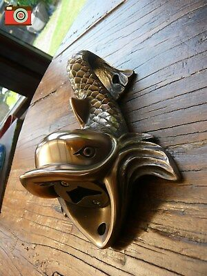 A Beer Buddies Dolphin Wall Mount Bottle Opener, Truly Stunning, Gold Finish