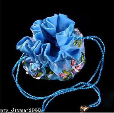 Fashion SILK JEWELRY EMBROIDERED TRAVEL BAG ROLL POUCH BROCADE BAG BLUE