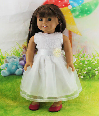 """American Girl Doll Clothes for 18"""" Handmad The Wedding Girl white gown dress b69"""
