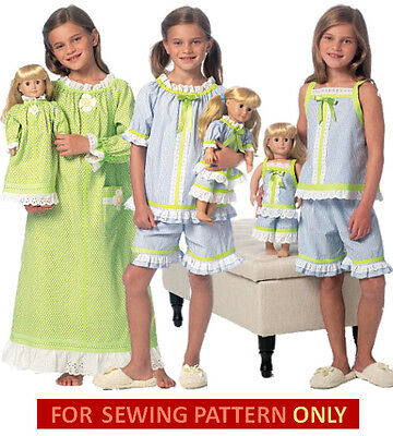 SEWING PATTERN! MAKE Matching Nightgown~Pj For Girl~Doll~Fit ...