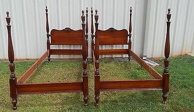 antique solid cherry pair of twin poster beds with shell design
