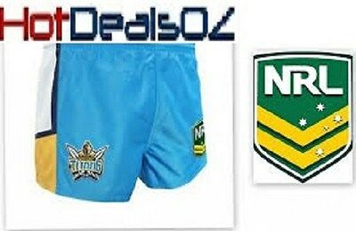 Brand New Gold Coast Titans Nrl Mens Football Blue Supporter Shorts Footy