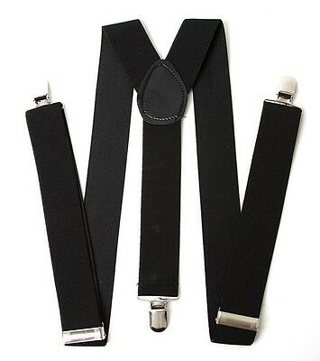Kids Boy Girls Toddler Clip-on Suspenders Elastic Adjustable Braces Black