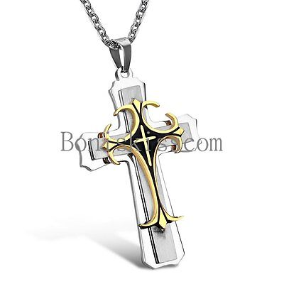 Triple Layer Tri-tone Celtic Cross Stainless Steel fleur de lis Pendant Necklace