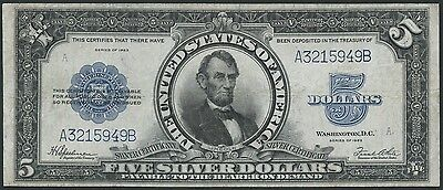 "FR282 $5 1923 ""PORTHOLE"" SILVER CERTIFICATE HIGH END VF-XF WL8076"