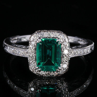 Emerald With Natural Diamond Wedding Engagement​ Solid 10K White Gold Fine Ring