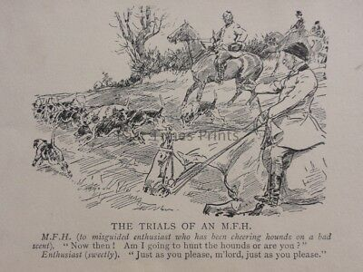Hunting, Fox & Hounds THE TRIALS OF AN M.F.H. Antique Punch Cartoon