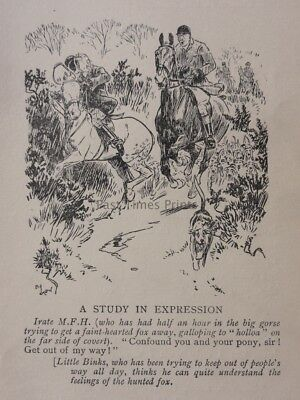 Hunting, Fox & Hounds IRATE M.F.H. - A STUDY IN EXPRESSION Antique Punch Cartoon