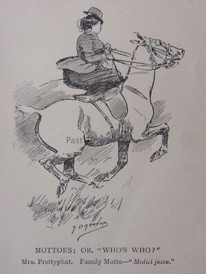 Hunting, Fox & Hounds MOTTOES OR WHO'S WHO? MRS PRETTYPHAT Antique Punch Cartoon
