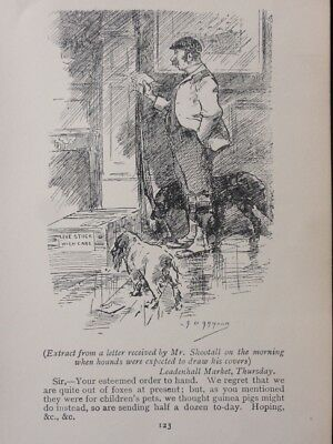 Hunting, Fox & Hounds LIVE STOCK FROM LEADENHALL MARKET Antique Punch Cartoon