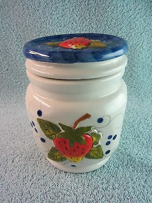 "Ceramic Strawberry Design Cookie Jar Canister, 5 1/2"" Tall x 4"" Wide"