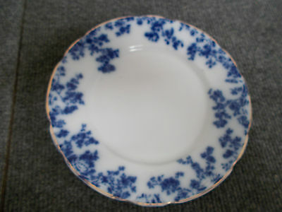 """W. H. Grindley - Olympia - Flow Blue 8"""" Salad Plate"""