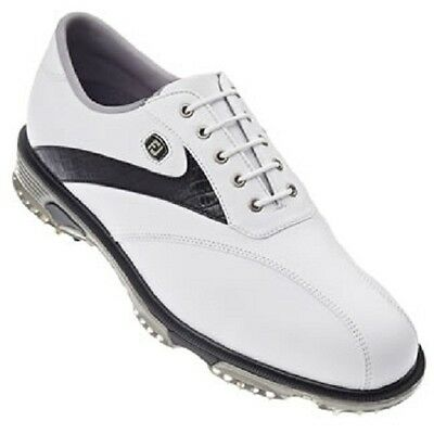 FootJoy DryJoys Tour 2014 Golf Shoes white with black lizard bicycle toe 53694
