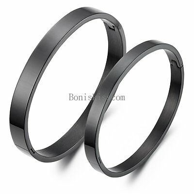 Matching Lovers Black IP Stainless Steel Bracelet Bangle Men's Women's Gifts