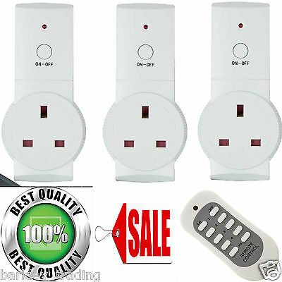Remote Control Sockets Wireless Switch Home Mains UK Plug AC Power Outlet 1/2/3